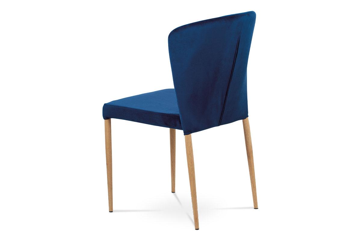 Jídelní židle, modrá sametová látka, kovová podnož, 3D dekor dub - CT-614 BLUE4