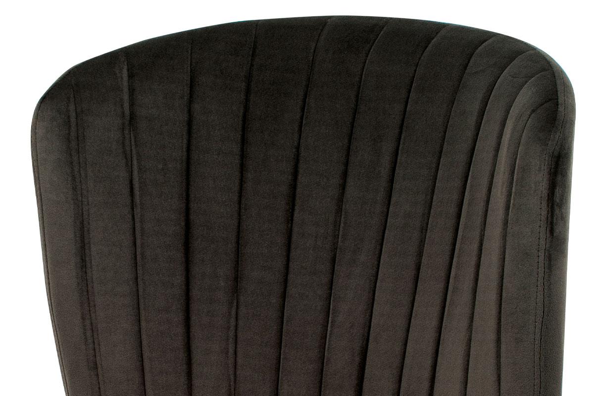 Jídelní židle, šedá sametová látka, kovová podnož, 3D dekor dub - CT-614 GREY4
