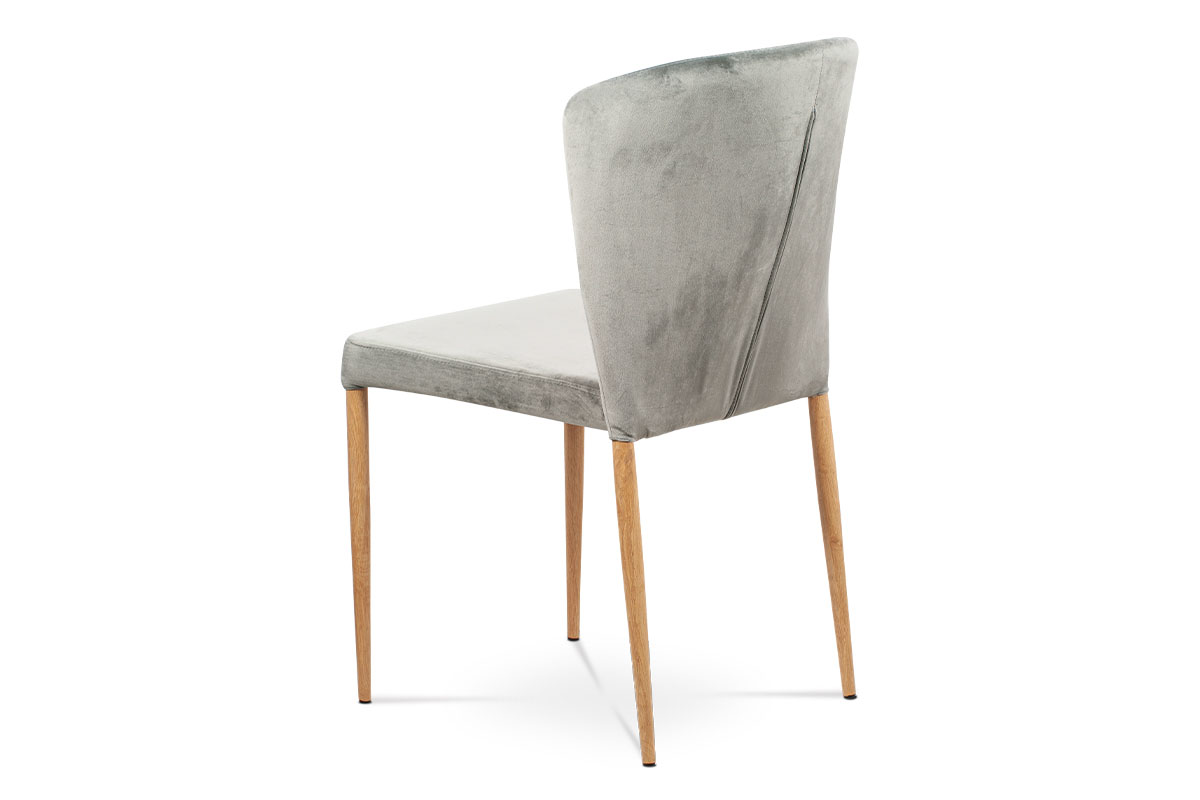 Jídelní židle, stříbrná sametová látka, kovová podnož, 3D dekor dub - CT-614 SIL4