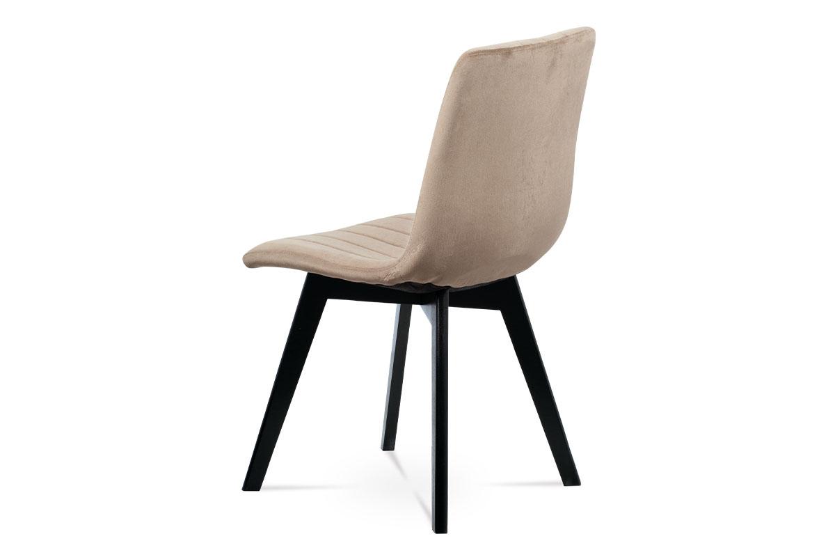 Jídelní židle, krémová sametová látka, masivní bukové nohy, černý matný lak - CT-617 CRM4