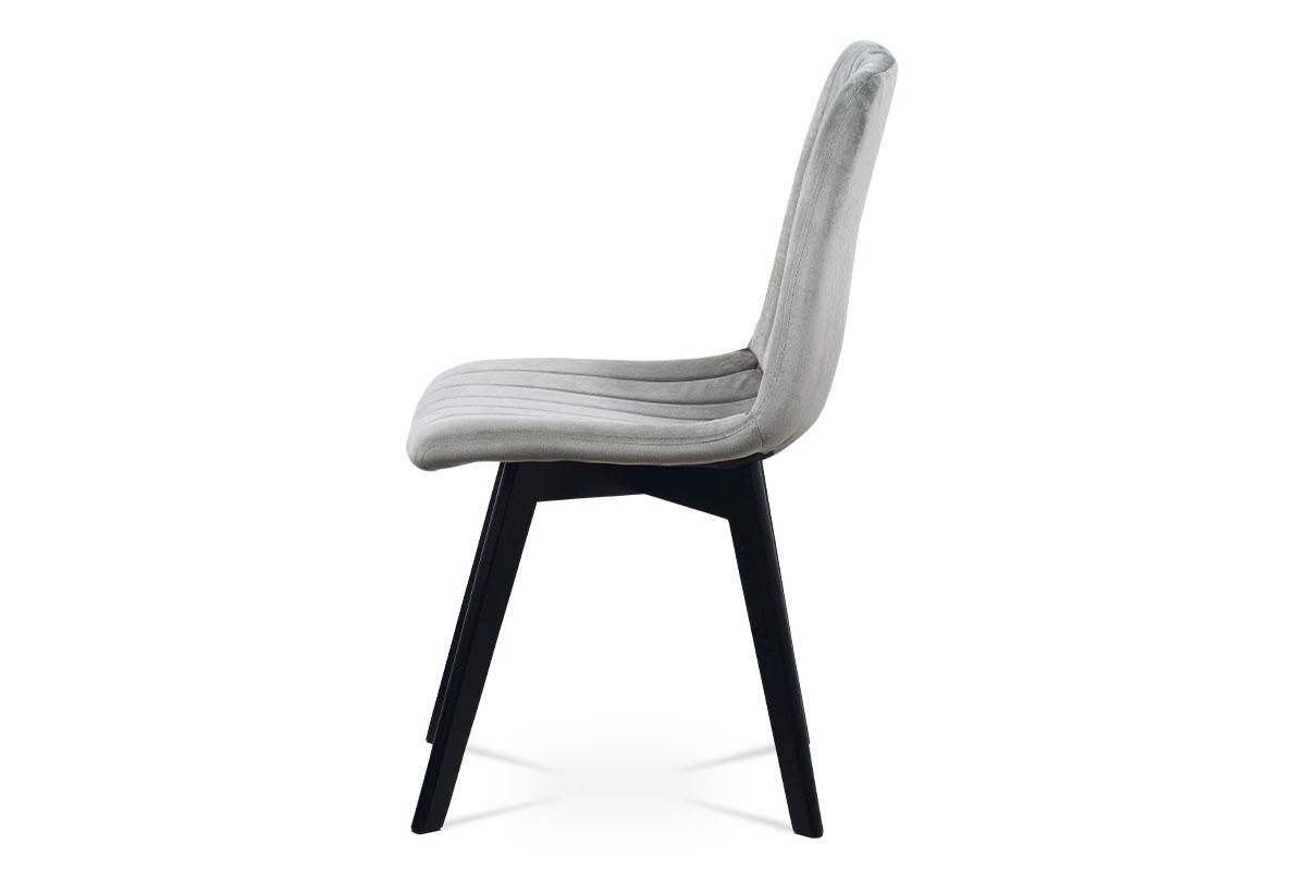 Jídelní židle, stříbrná sametová látka, masivní bukové nohy, černý matný lak - CT-617 SIL4