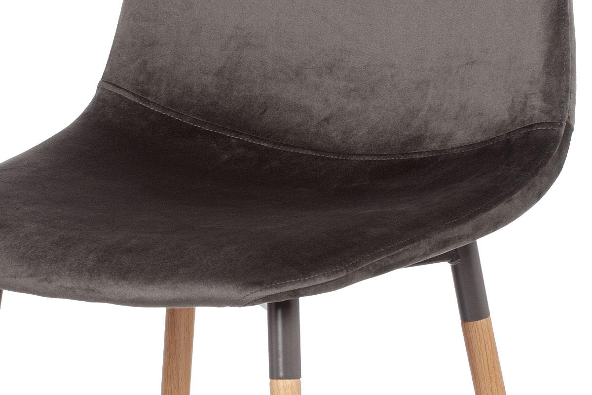 Jídelní židle, šedá sametová látka, kov dekor buk - CT-622 GREY4