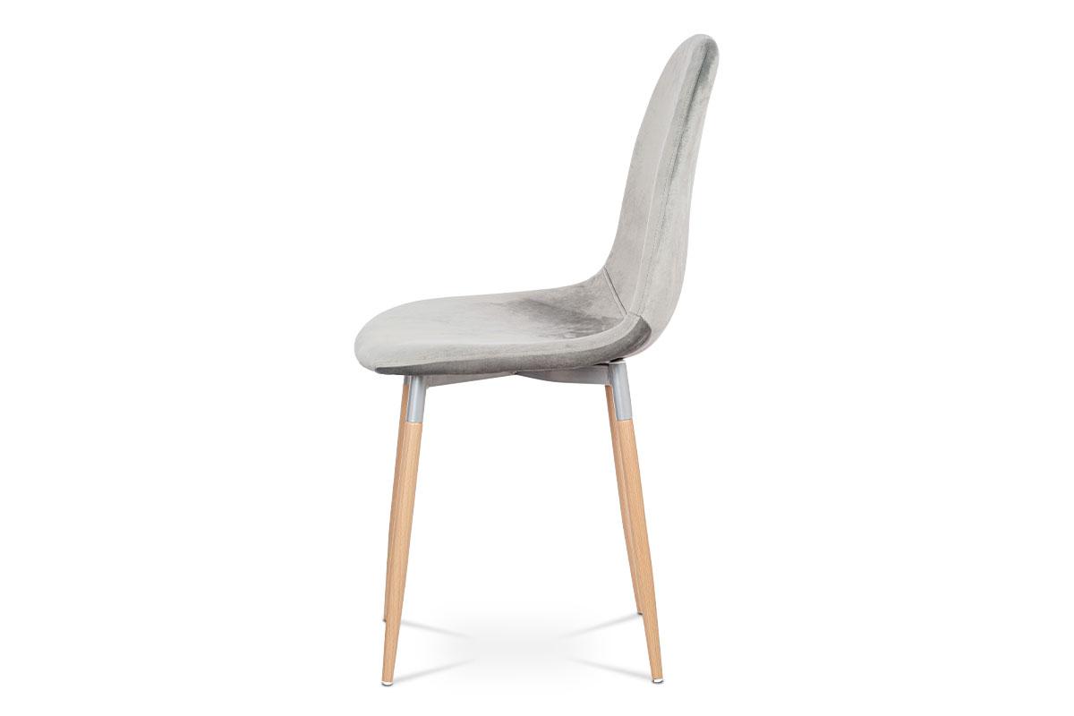 Jídelní židle, stříbrná sametová látka, kov dekor buk - CT-622 SIL4
