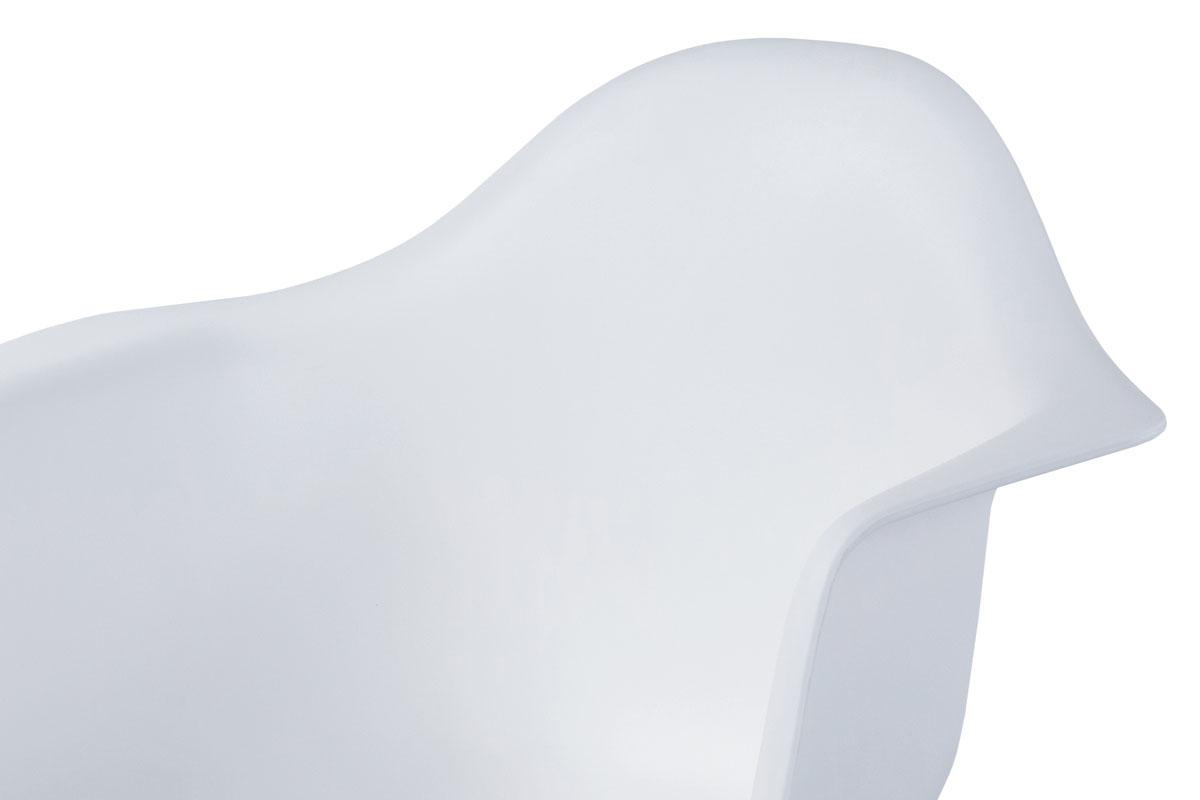 Jídelní židle, bílý plast, masiv buk, přírodní odstín, černé kovové výztuhy - CT-719 WT1