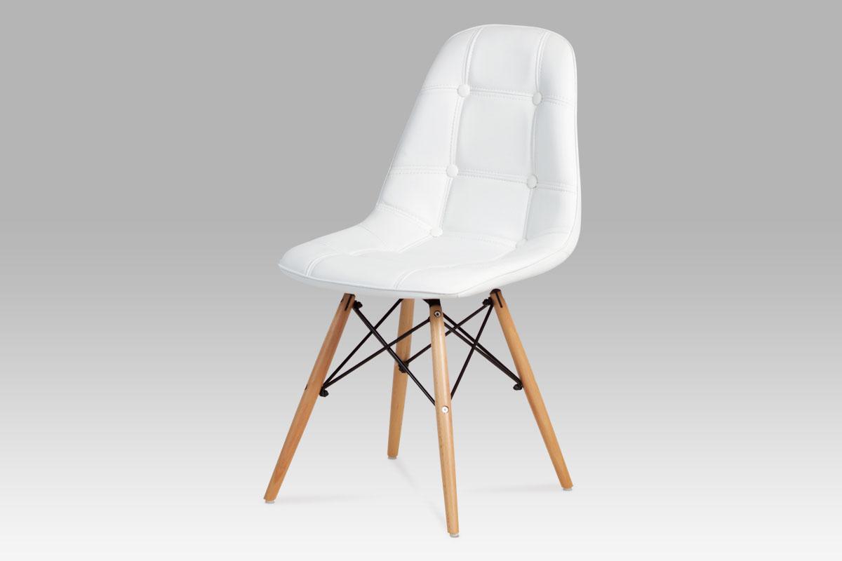 Autronic - Jídelní židle, koženka bílá / masiv buk - CT-720 WT1