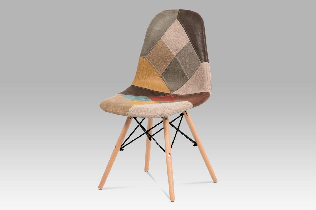 Autronic - Jídelní židle, vícebarevná látka patchwork, masiv buk, kov černý - CT-727 PW3