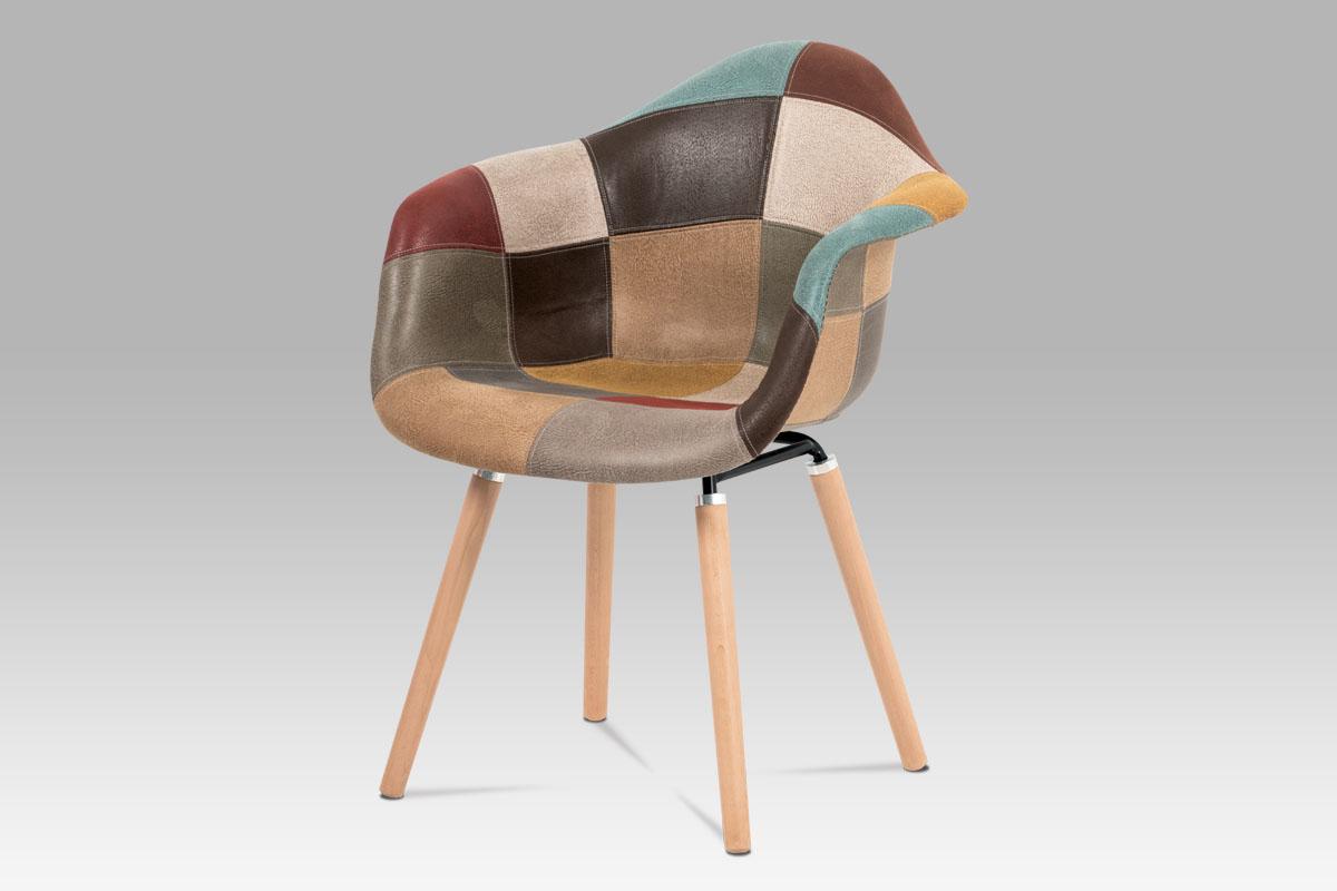 Autronic - Jídelní židle, vícebarevná látka patchwork, masiv buk, kov černý - CT-728 PW3