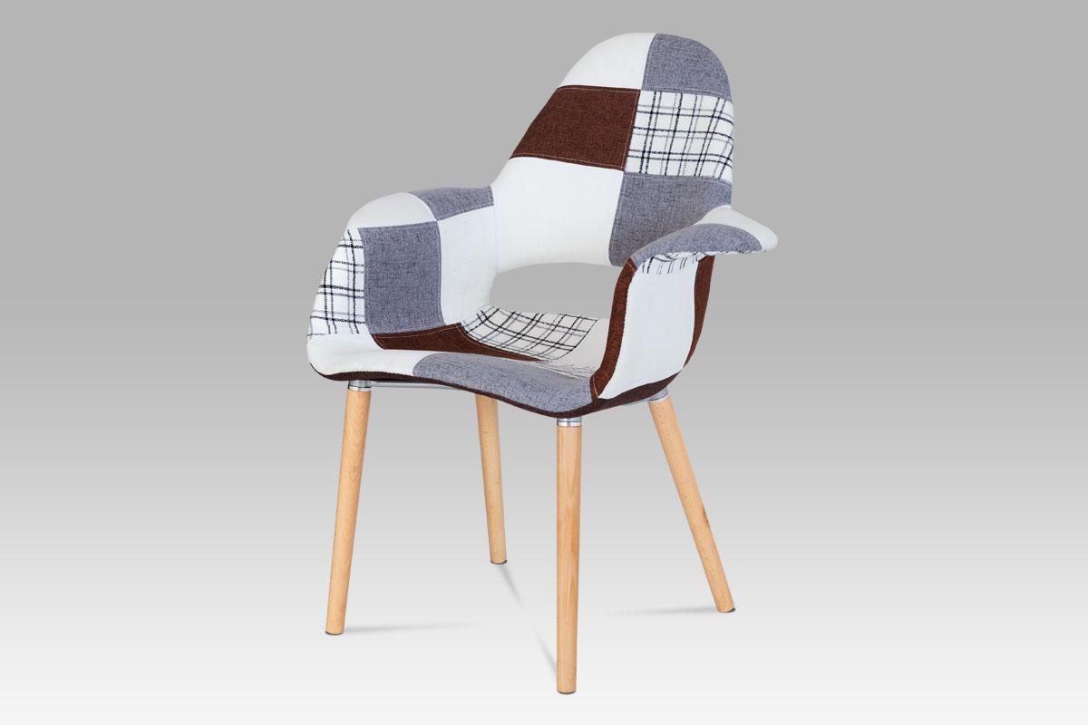 Autronic - Jídelní židle patchwork / natural - CT-734 PW2