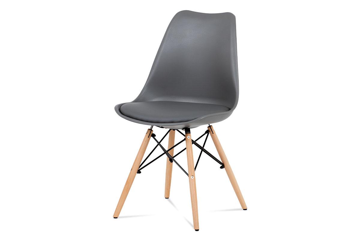 Autronic - Jídelní židle šedý plast / šedá koženka / natural - CT-741 GREY