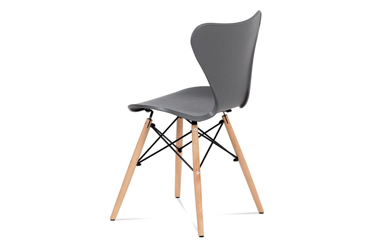 Jídelní židle šedý plast / natural - CT-742 GREY