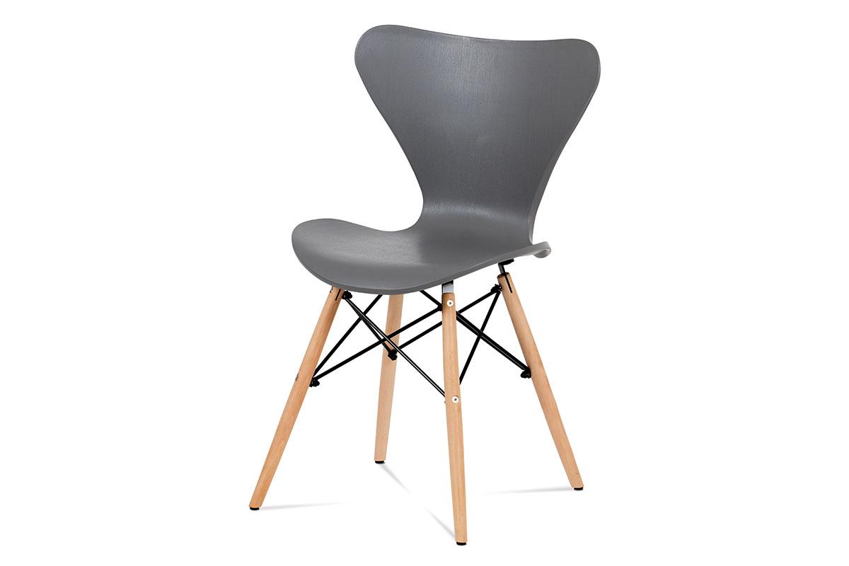 Autronic - Jídelní židle šedý plast / natural - CT-742 GREY