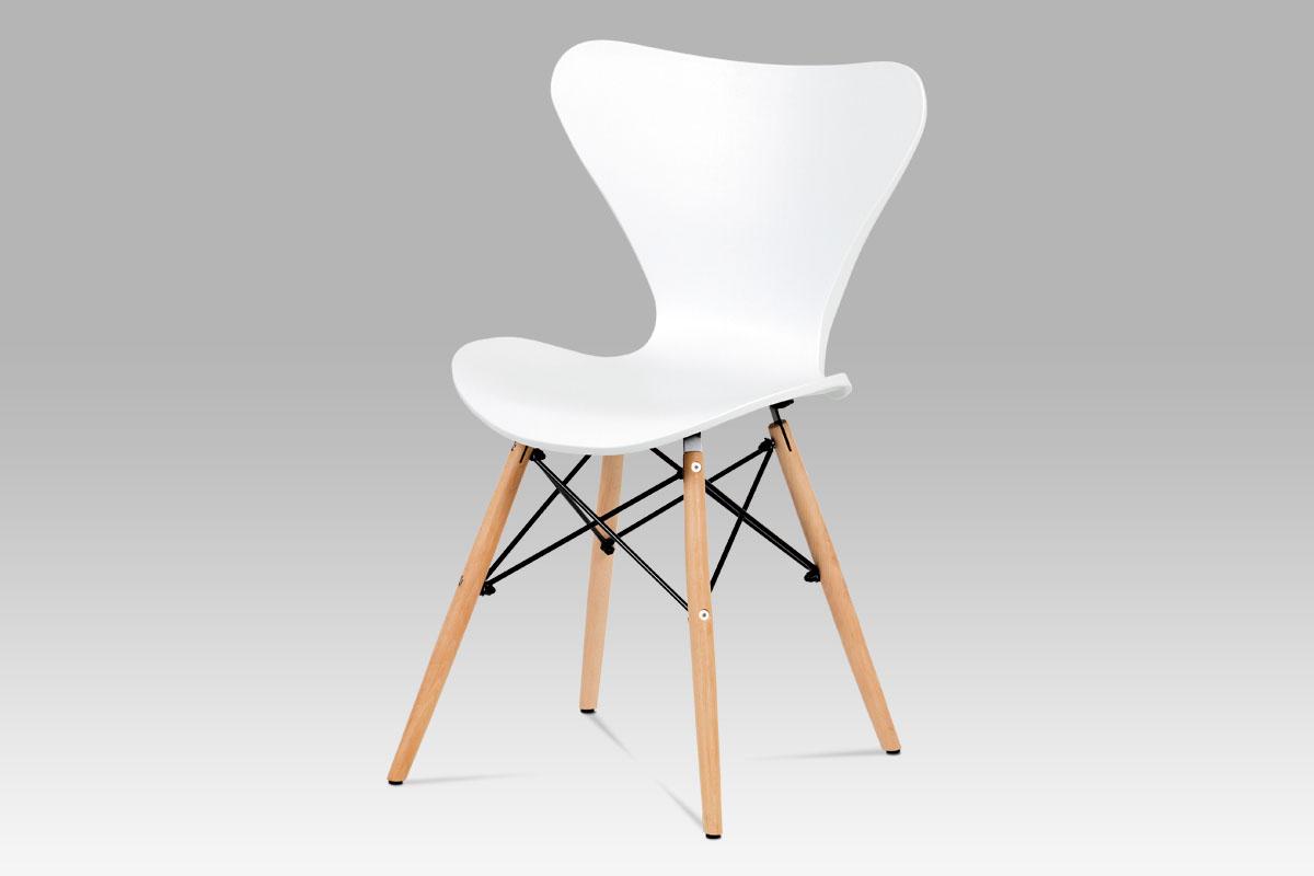 Autronic - Jídelní židle bílý plast / natural - CT-742 WT