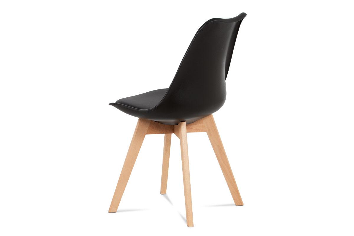 Jídelní židle, černá plastová skořepina, sedák černá ekokůže, čtyřnohá dřevěná p - CT-752 BK