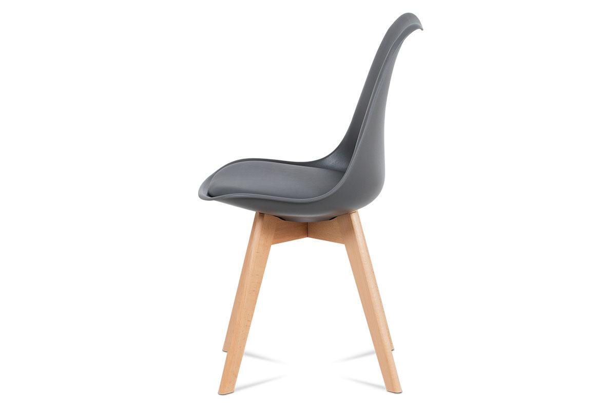 Jídelní židle, plast šedý / koženka šedá / masiv buk - CT-752 GREY