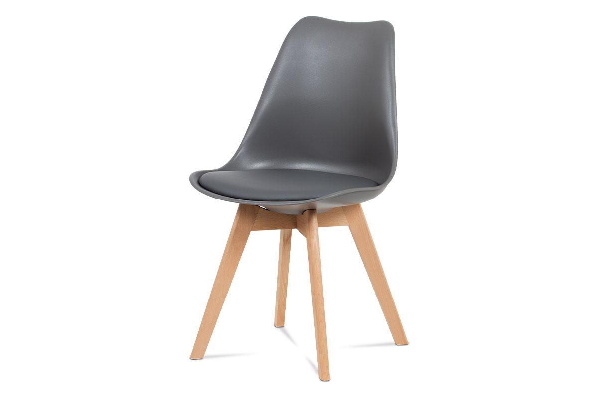 Autronic - Jídelní židle, plast šedý / koženka šedá / masiv buk - CT-752 GREY