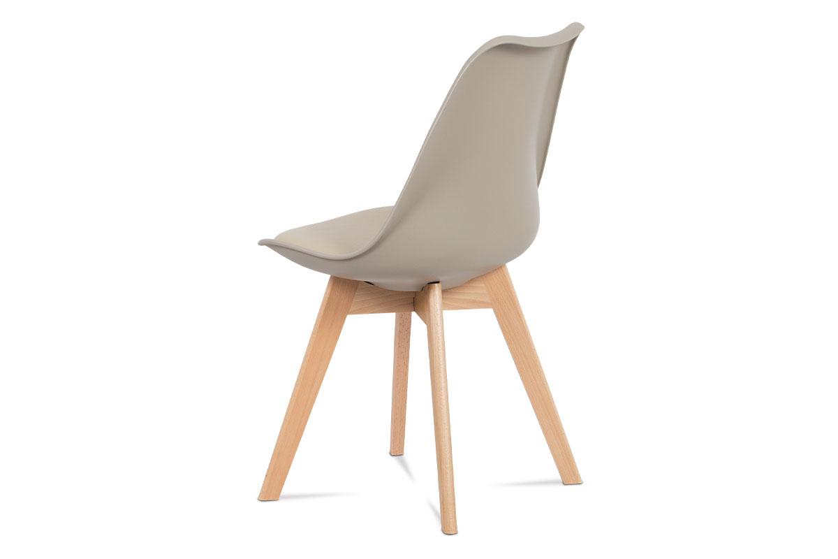 Jídelní židle, plast latté / koženka latté / masiv buk - CT-752 LAT