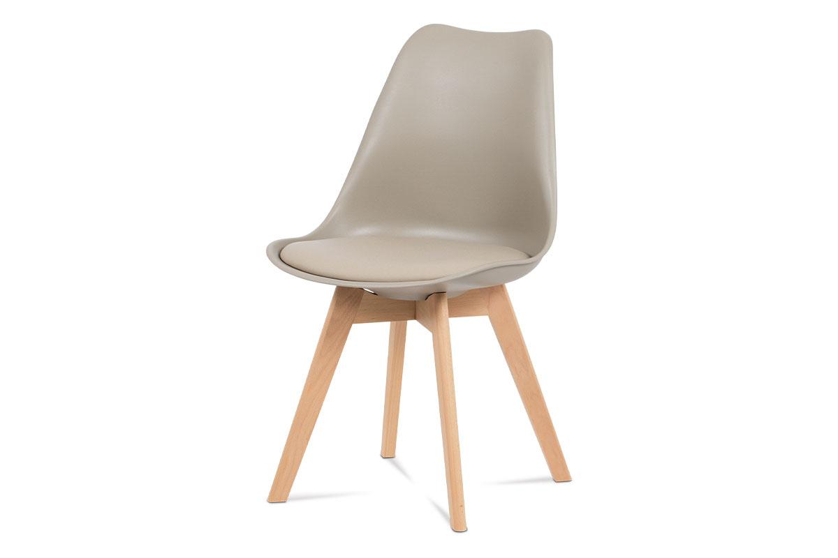 Autronic - Jídelní židle, plast latté / koženka latté / masiv buk - CT-752 LAT