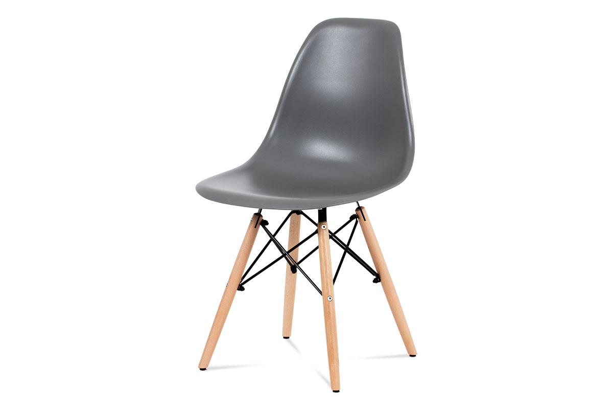 Autronic - Jídelní židle, plast šedý / masiv buk / kov černý - CT-758 GREY