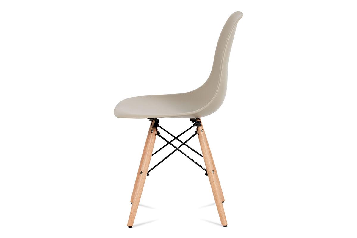 Jídelní židle, plast latté / masiv buk / kov černý - CT-758 LAT