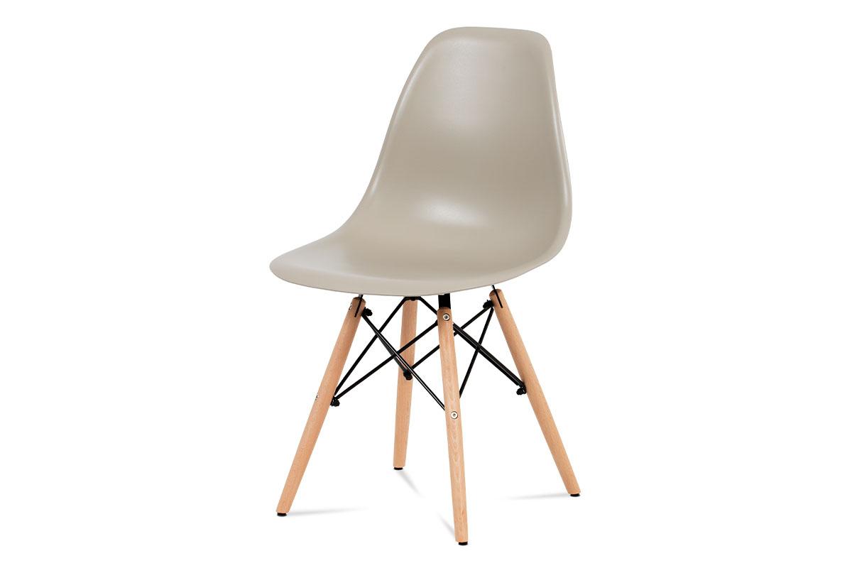 Autronic - Jídelní židle, plast latté / masiv buk / kov černý - CT-758 LAT