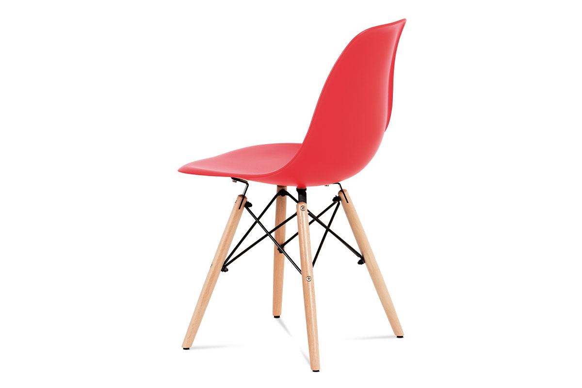 Jídelní židle, plast červený / masiv buk / kov černý - CT-758 RED