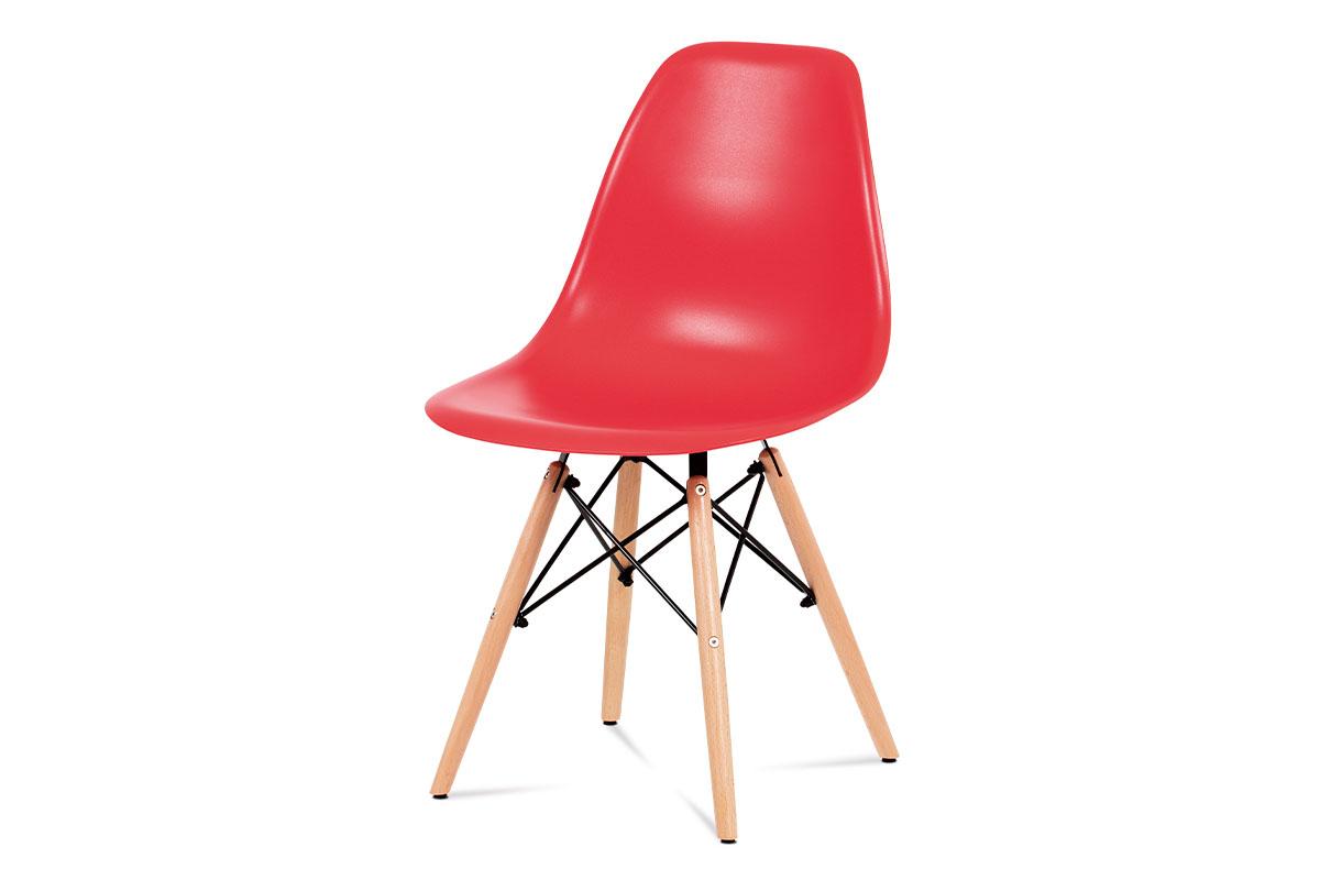 Autronic - Jídelní židle, plast červený / masiv buk / kov černý - CT-758 RED