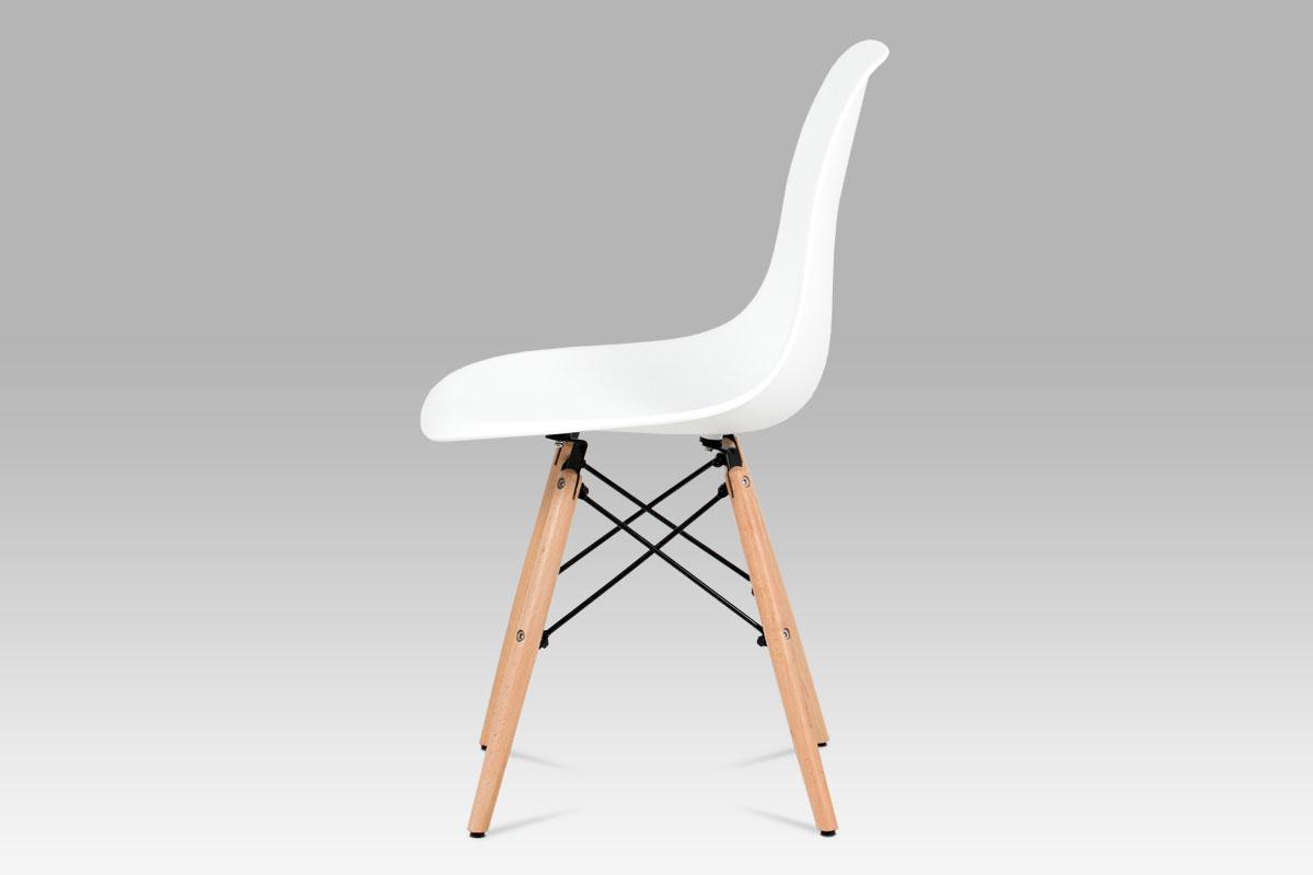 Jídelní židle, plast bílý / masiv buk / kov černý - CT-758 WT