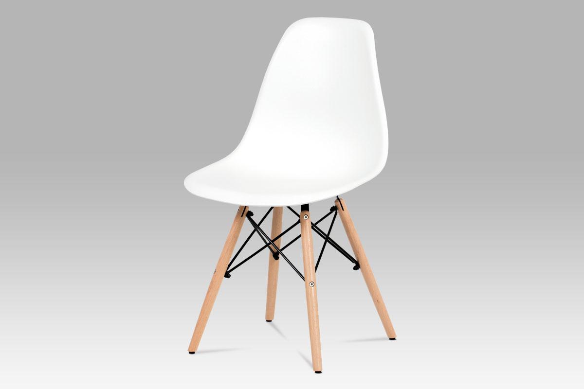 Autronic - Jídelní židle, plast bílý / masiv buk / kov černý - CT-758 WT