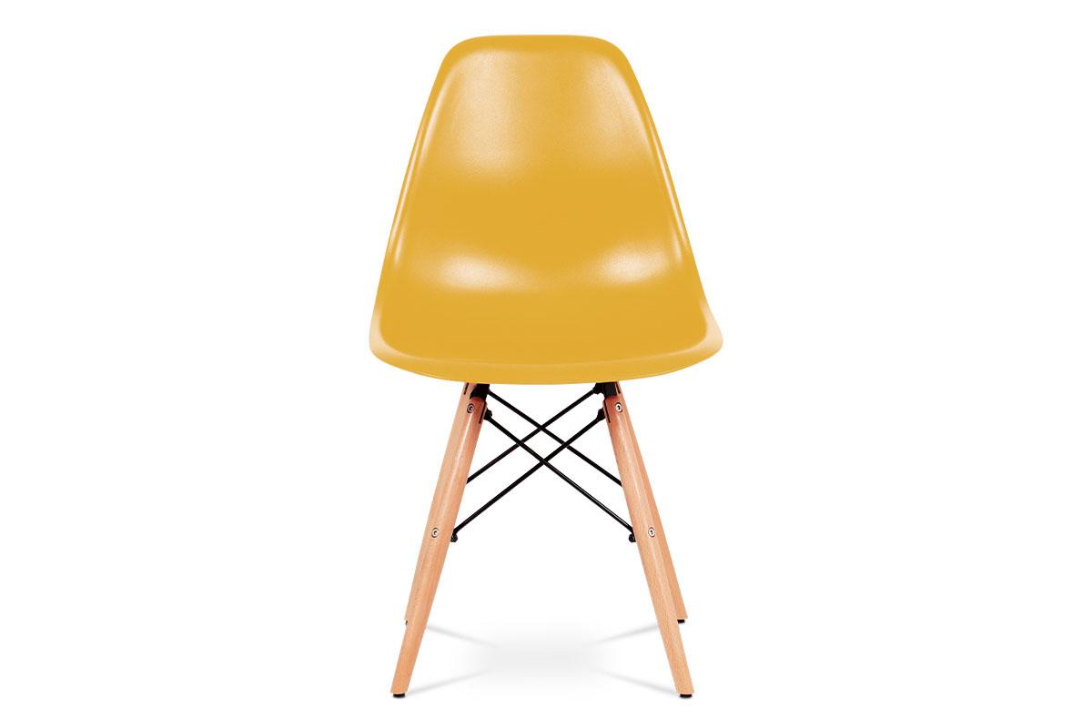 Jídelní židle, plast žlutý / masiv buk / kov černý - CT-758 YEL