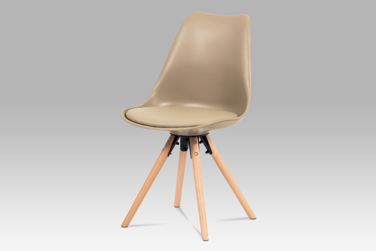 Autronic - Jídelní židle, cappuccino plast+ekokůže, nohy masiv buk + rám černý kov - CT-805 CAP