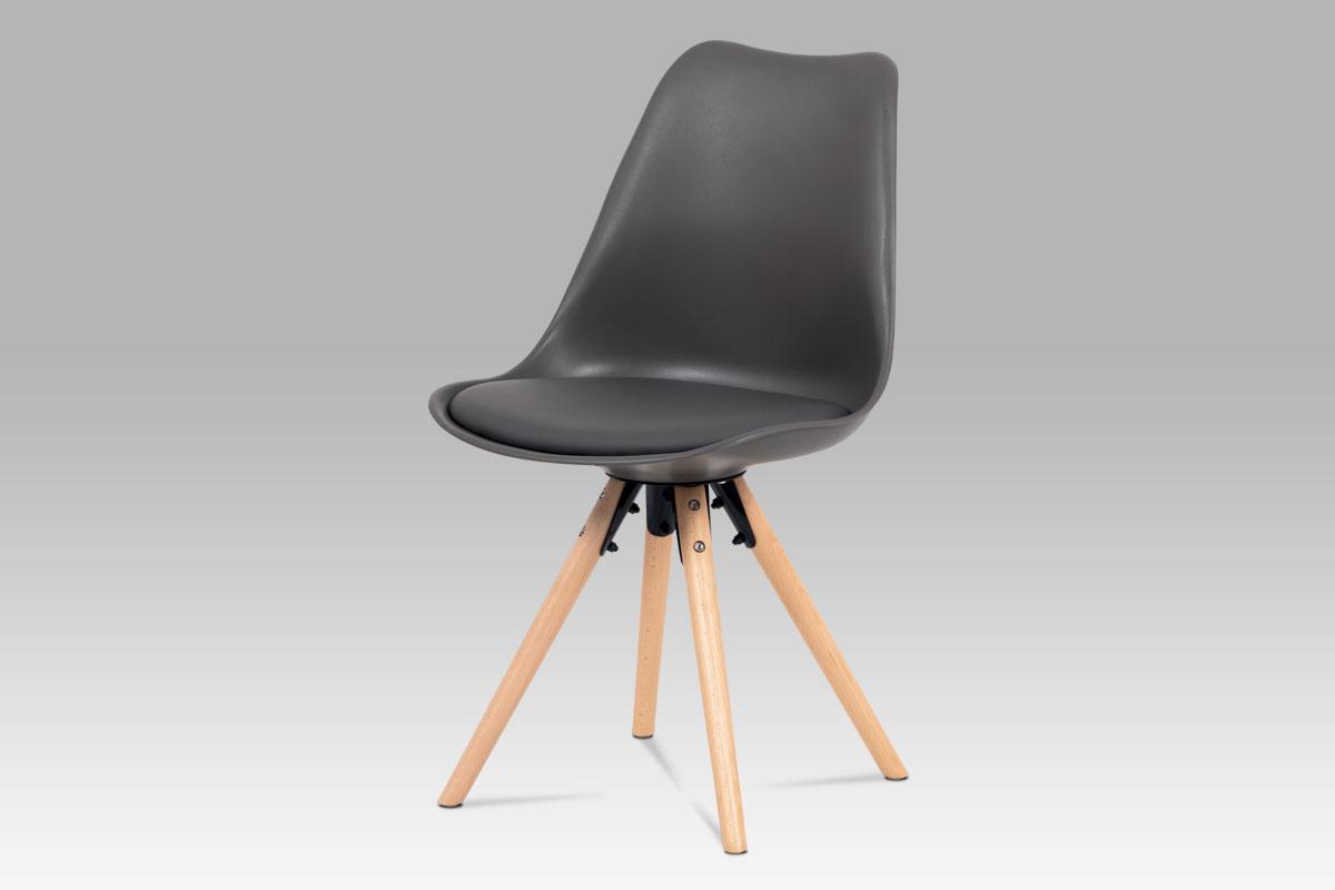 Autronic - Jídelní židle, šedá plast+ekokůže, nohy masiv buk + rám černý kov - CT-805 GREY