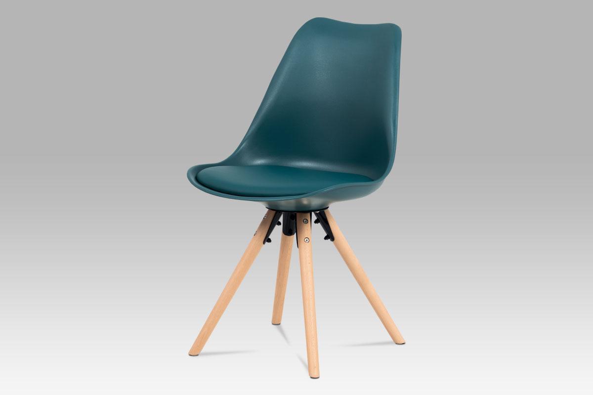 Autronic - Jídelní židle, petrolejová plast+ekokůže, nohy masiv buk + rám černý kov - CT-805 PET