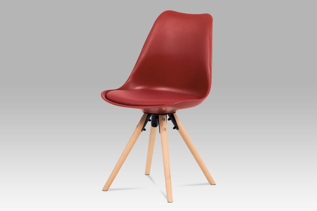 Autronic - Jídelní židle, červená plast+ekokůže, nohy masiv buk + rám černý kov - CT-805 RED