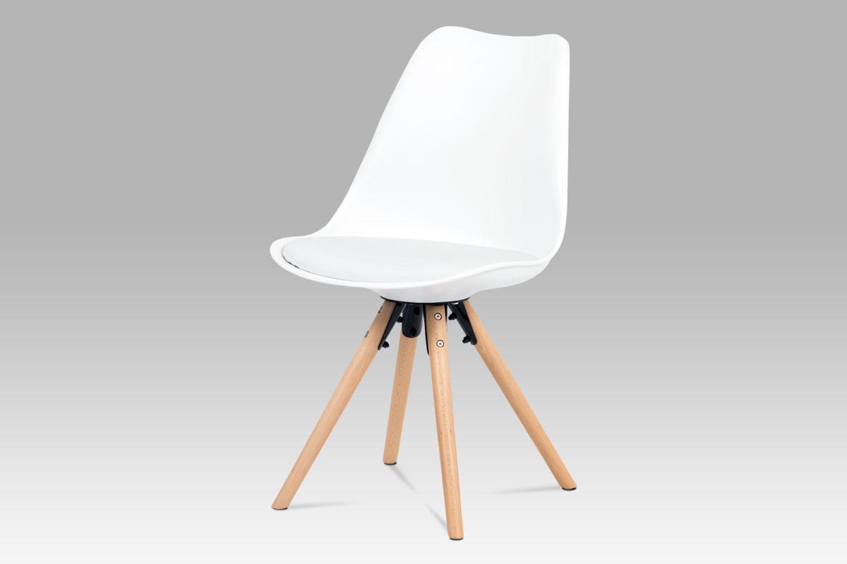 Autronic - Jídelní židle, bílá plast+ekokůže, nohy masiv buk + rám černý kov - CT-805 WT