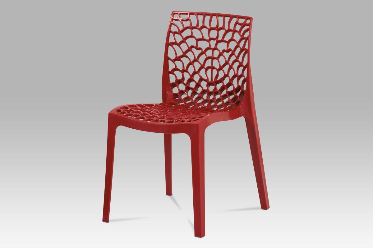 Autronic - Jídelní židle, červená plast - CT-820 RED