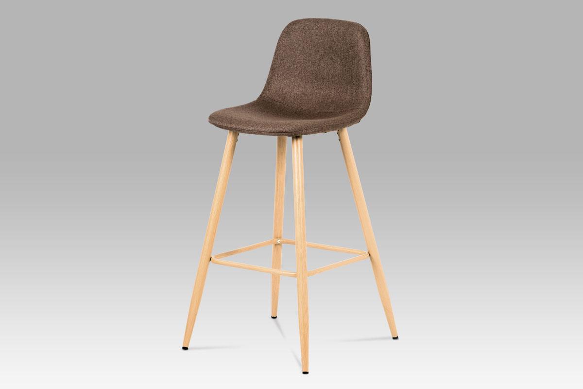 Autronic - Barová židle, hnědá látka, kov buk - CTB-111 BR2