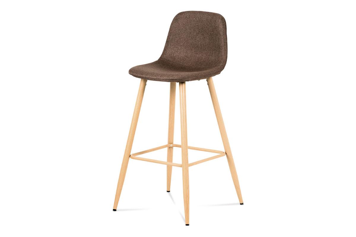 Barová židle, hnědá látka, kov dekor buk