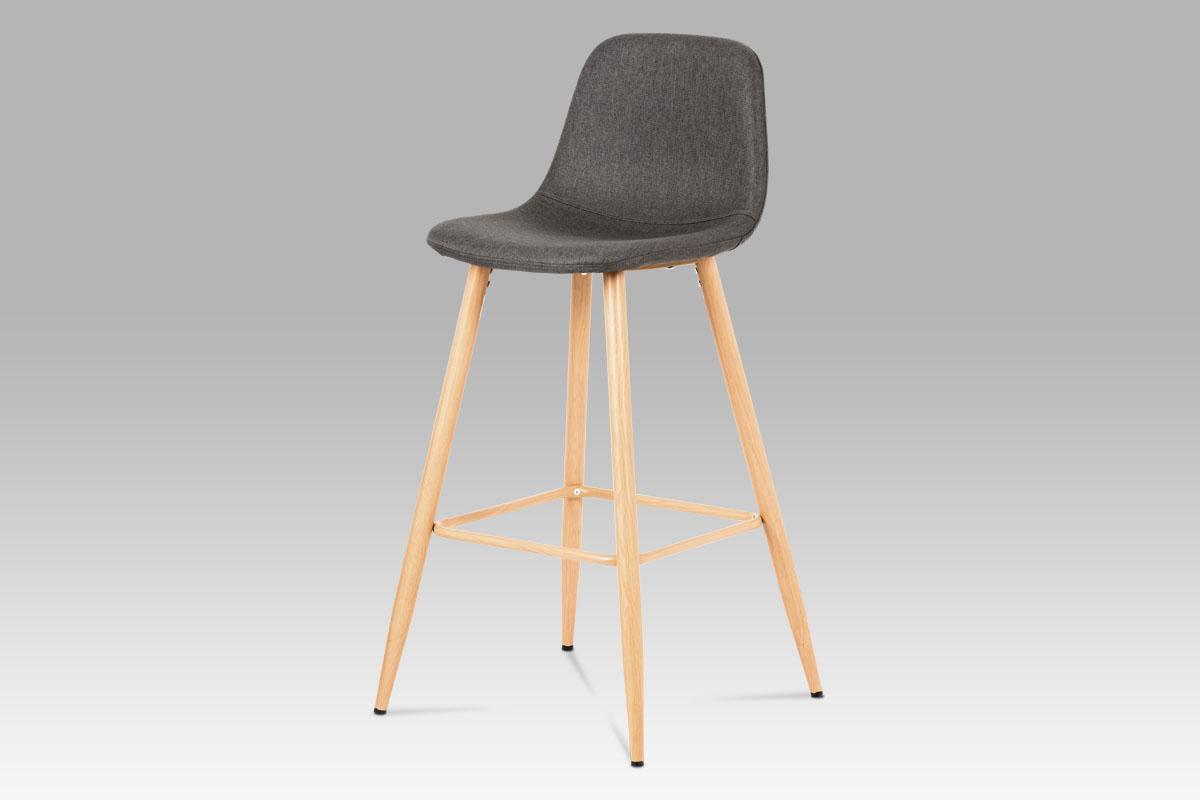 Autronic - Barová židle, šedá látka, kov buk - CTB-111 GREY2