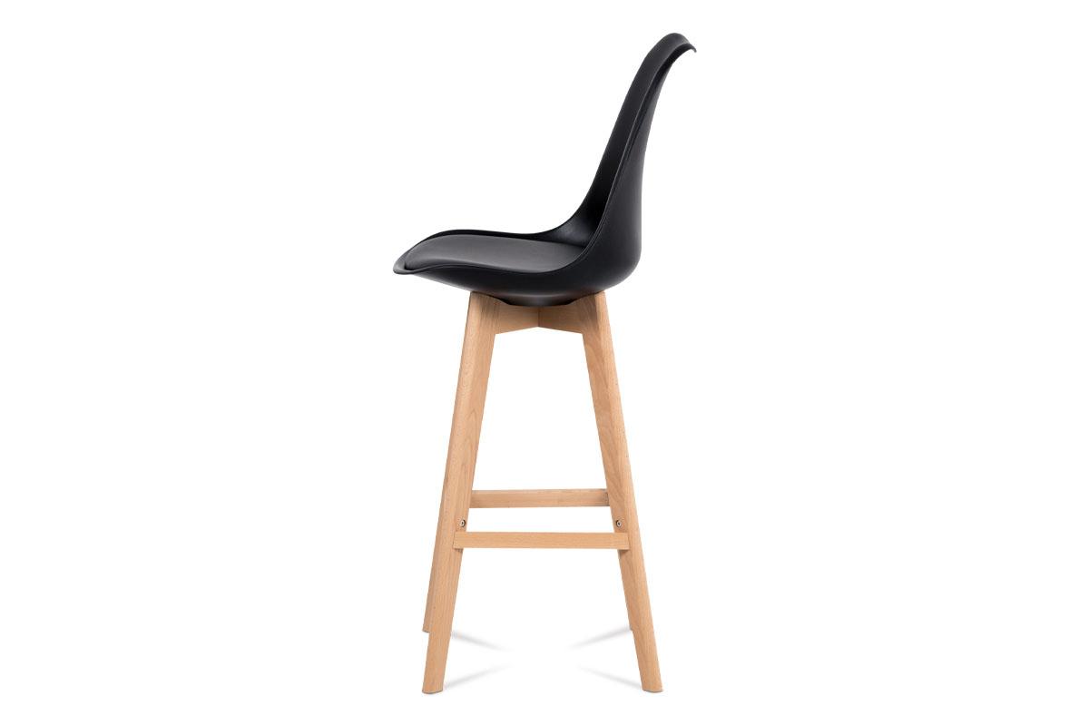 Barová židle, černý plast+ekokůže, nohy masiv buk - CTB-801 BK
