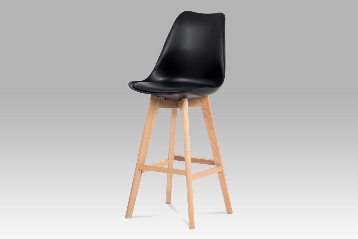 Autronic - Jídelní židle, černá plast+ekokůže, nohy masiv buk - CTB-801 BK