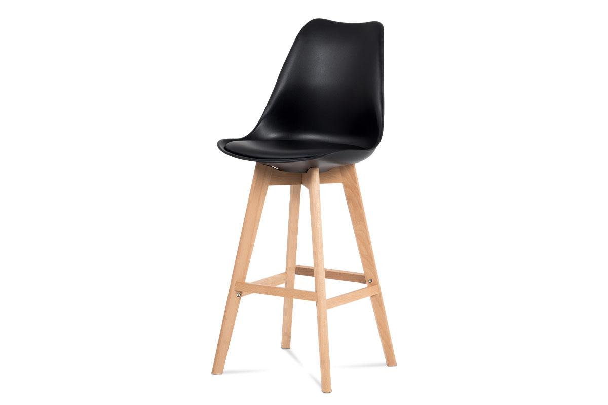Autronic - Barová židle, černý plast+ekokůže, nohy masiv buk - CTB-801 BK