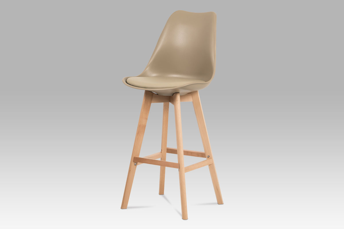 Autronic - Jídelní židle, cappuccino plast+ekokůže, nohy masiv buk - CTB-801 CAP