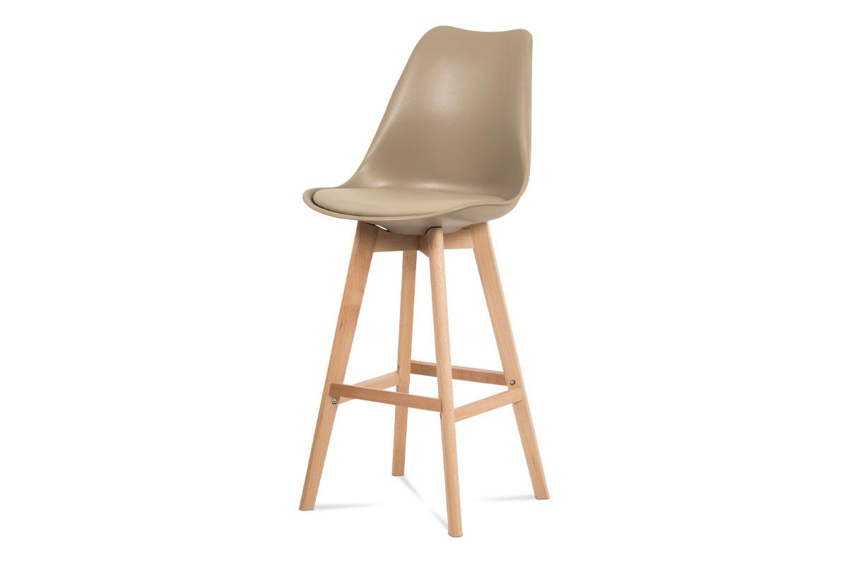 Barová židle, cappuccino plast+ekokůže, nohy masiv buk