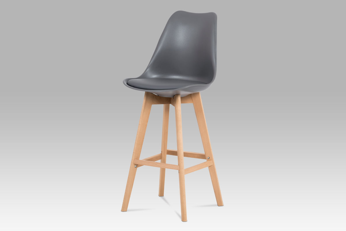 Autronic - Jídelní židle, šedá plast+ekokůže, nohy masiv buk - CTB-801 GREY