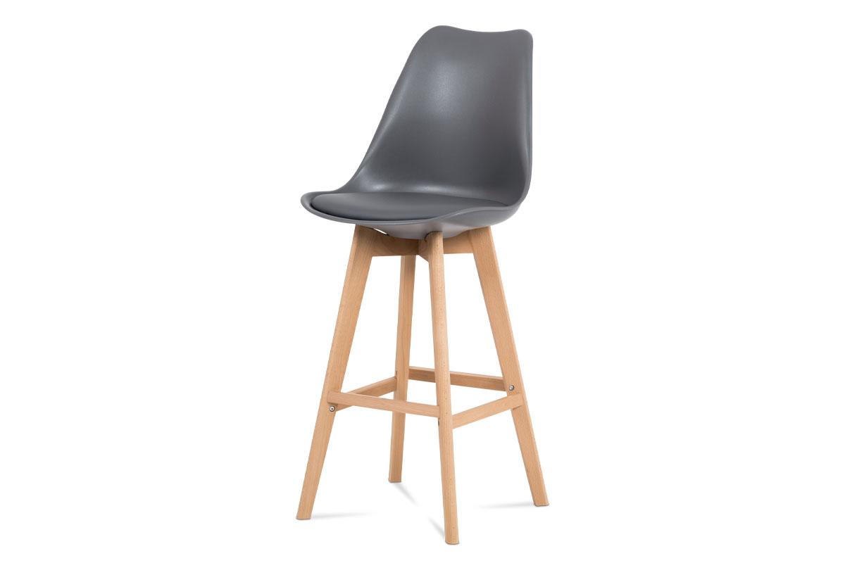 Autronic - Barová židle, šedá plast+ekokůže, nohy masiv buk - CTB-801 GREY