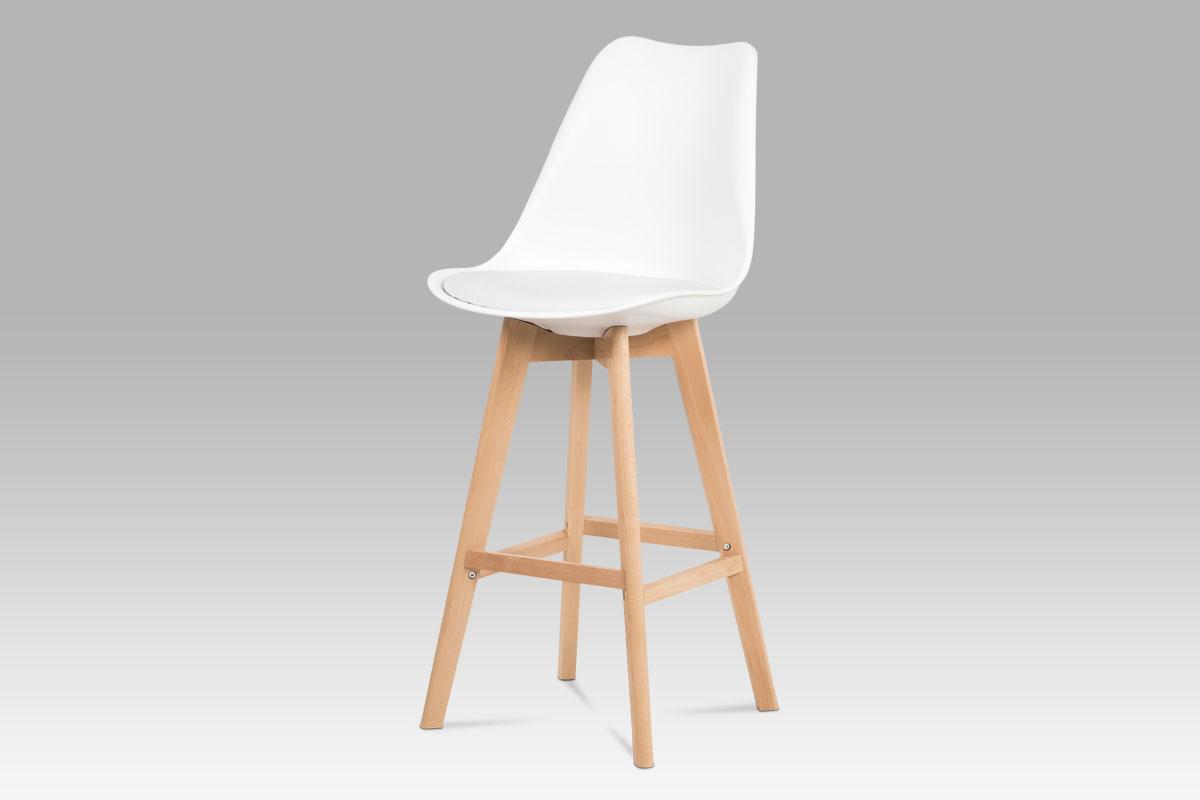 Autronic - Jídelní židle, bílá plast+ekokůže, nohy masiv buk - CTB-801 WT