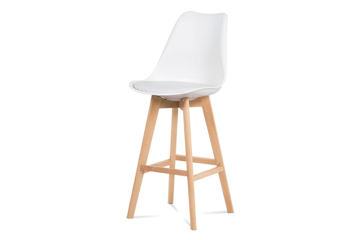 Autronic - Barová židle, bílá plast+ekokůže, nohy masiv buk - CTB-801 WT
