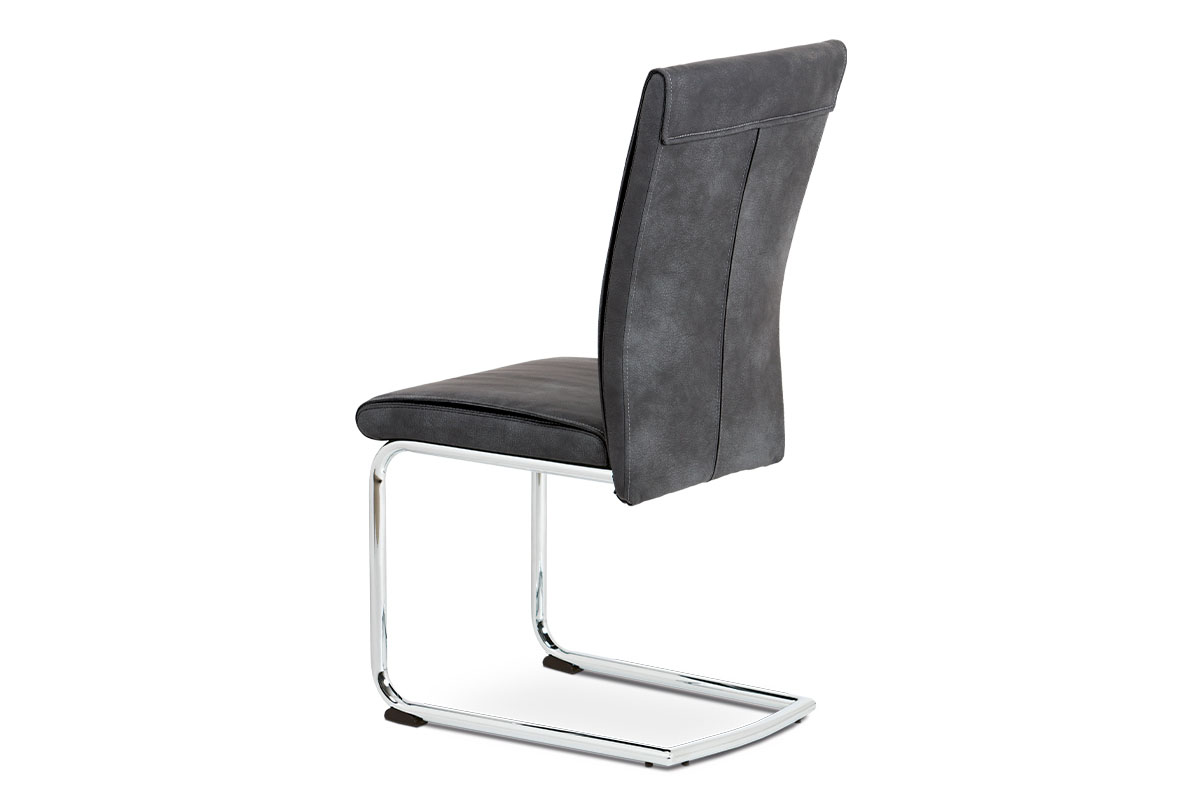 Jídelní židle, šedá vintage ekokůže MAYA, chromovaná pohupová podnož - DCH-192 GREY