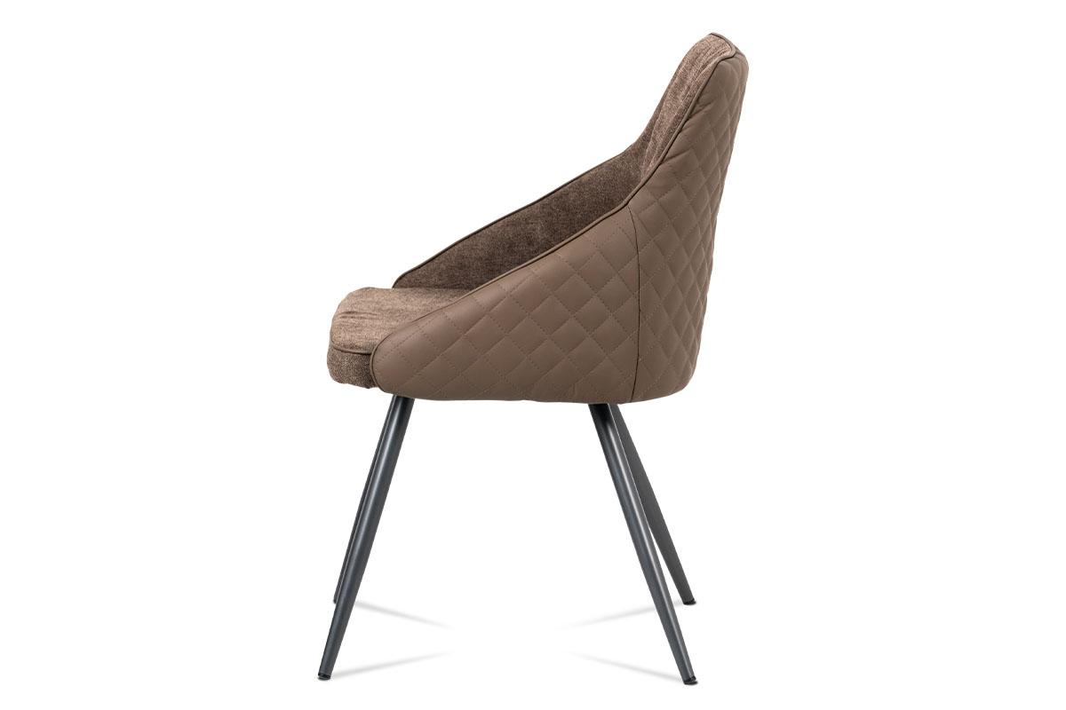 Jídelní židle, lanýžová látka+ekokůže, kov šedý mat - DCH-202 LAN2