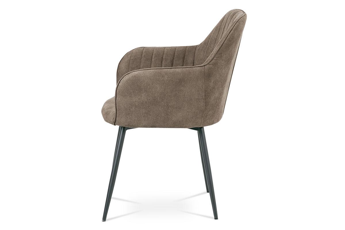 Jídelní židle, hnědá látka, kov šedá mat - DCH-222 BR3